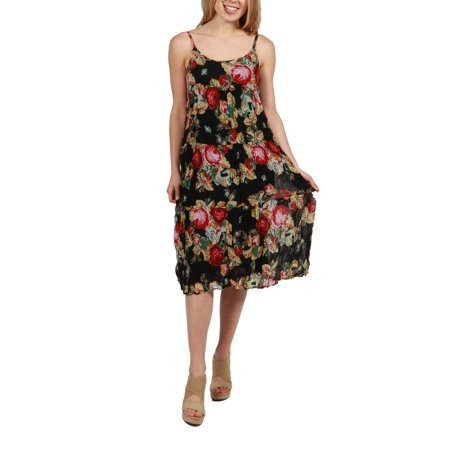 - 24Seven Comfort Apparel Faye Black Floral Print Dress