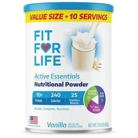 Fit For Life Active Essentials Vanilla Nutritional Powder, 17.04 Oz., 10 Servings