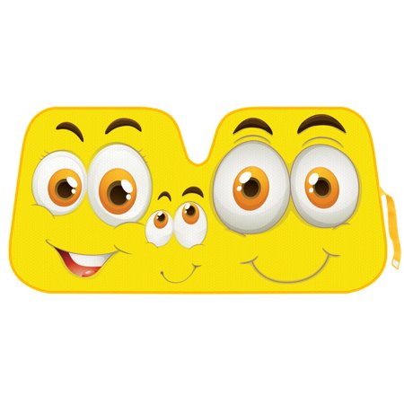 Double Bubble Windshield - Yellow Smiles Auto Sun Shade for Car SUV Truck - Smilin\' Family - Double Bubble Foil Jumbo Folding Accordion for Windshield