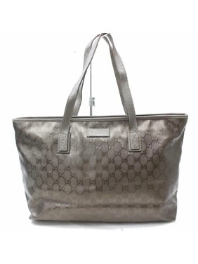 ff8dc54302df Product Image Pewter/Gold Imprime Monogram Medium 870152 Gold Patent Leather  Tote. Gucci