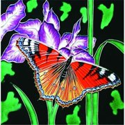 En Vogue B-38 Iris and Butterfly - Decorative Ceramic Art Tile - 8 in. x 8 in.
