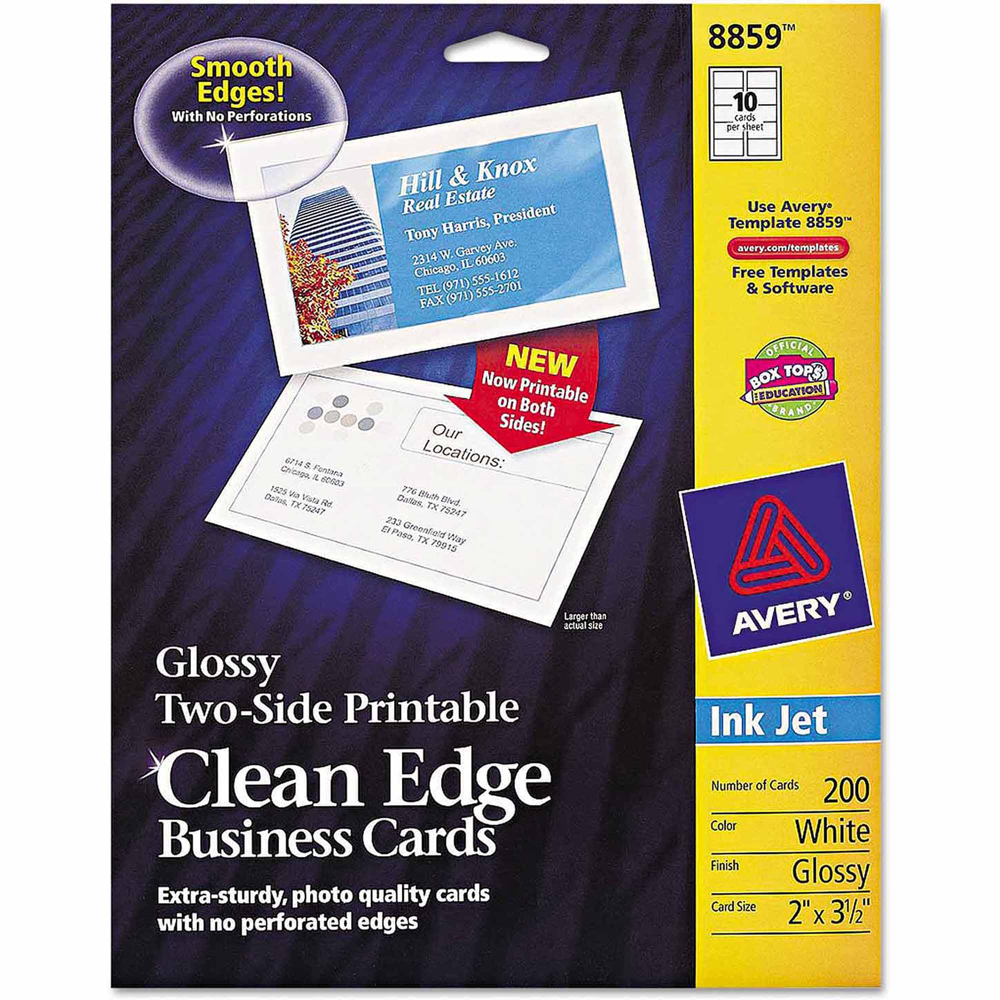 "Avery 2-Sided Clean Edge Business Cards, Inkjet, 2"" x 3-1/2"", Glossy White, 200-Pack"