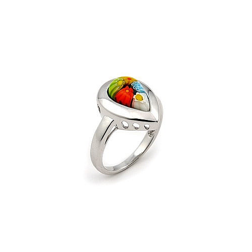Plutus Partners Millefiori Sterling Silver Drop Glass Ring