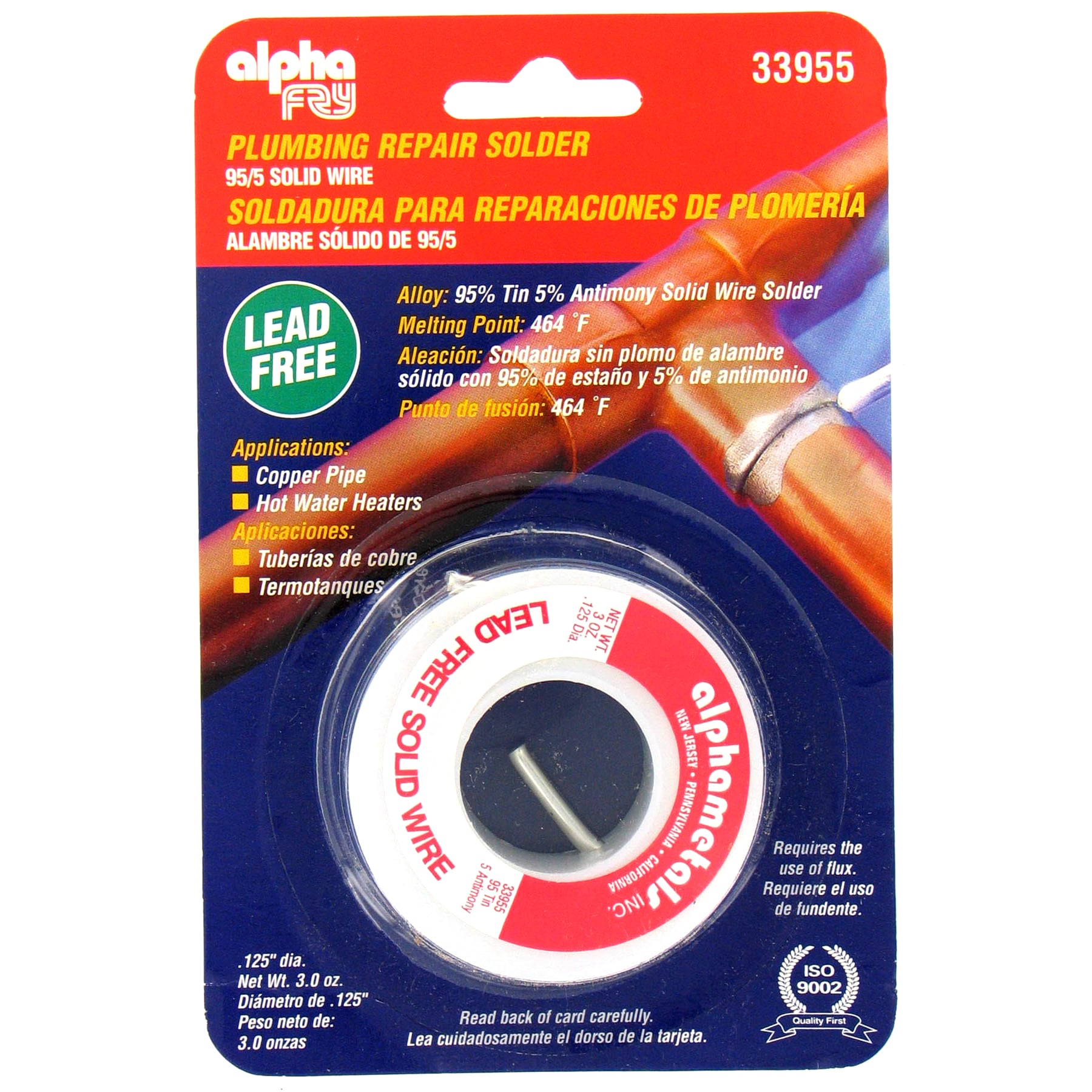 Antimony  95//5 Alpha Fry  3 oz Tin Lead-Free Solid Wire Solder  0.125in Dia