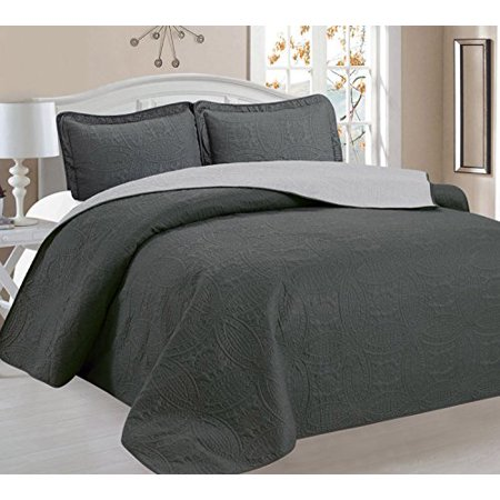 Home Sweet Home Victoria Design Reversible 3 PC Quilt Bedspread Sets (Full/Queen, Gray/Sliver) ()