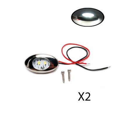 - Pactrade Marine 2PCS Boat RV Car Truck White LED Accent Light 12V S.S.Trim Ring