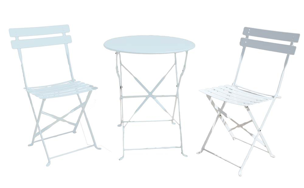 3-Pc Bistro Set in Bright White by Carolina Chair and Table Company