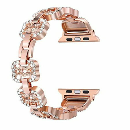 Apple Watch Band 42mm Bling Bands Women Stainless Steel Metal Replacement Wristband Sport Strap for Iwatch Nike+, Series 3 2 1, Edition Rose Gold Sleek design for 42mm Apple watch, high quality stainless steel metal not an inexpensive zinc or aluminum alloy, suitable for 5.8-8.1 inch wrists, available in gloss or satin finishesApple watch band 42mm set with rhinestones is bound to get you daily compliments. Iwatch bands 42mm womens will give your look a boostEASY TO RESIZE: Six folding clasps in each band mean a perfect fit for maximum comfort. Simply remove a folding clasp to resize the band, no tools neededCompatible with all Apple Watch models including Apple watch band 42mm Series 3 (2017), Series 2 (2016), and Series 1 (2015)1-year warranty for a full refund. Order your iwatch bands 42mm with confidence