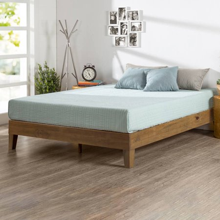 Zinus Deluxe Solid Wood Platform Bed, Multiple Sizes, Multiple (Natural Wood Pine Bed)