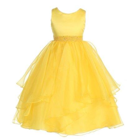 Chic Baby Girls Yellow Beaded Waist Overlaid Junior Bridesmaid Dress - Yellow Dress Girls