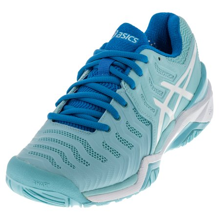 women's gel-resolution 7 tennis shoes aqua splash and white