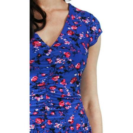 24/7 Comfort Apparel Women's Blue-Pink Rose Maxi Dress