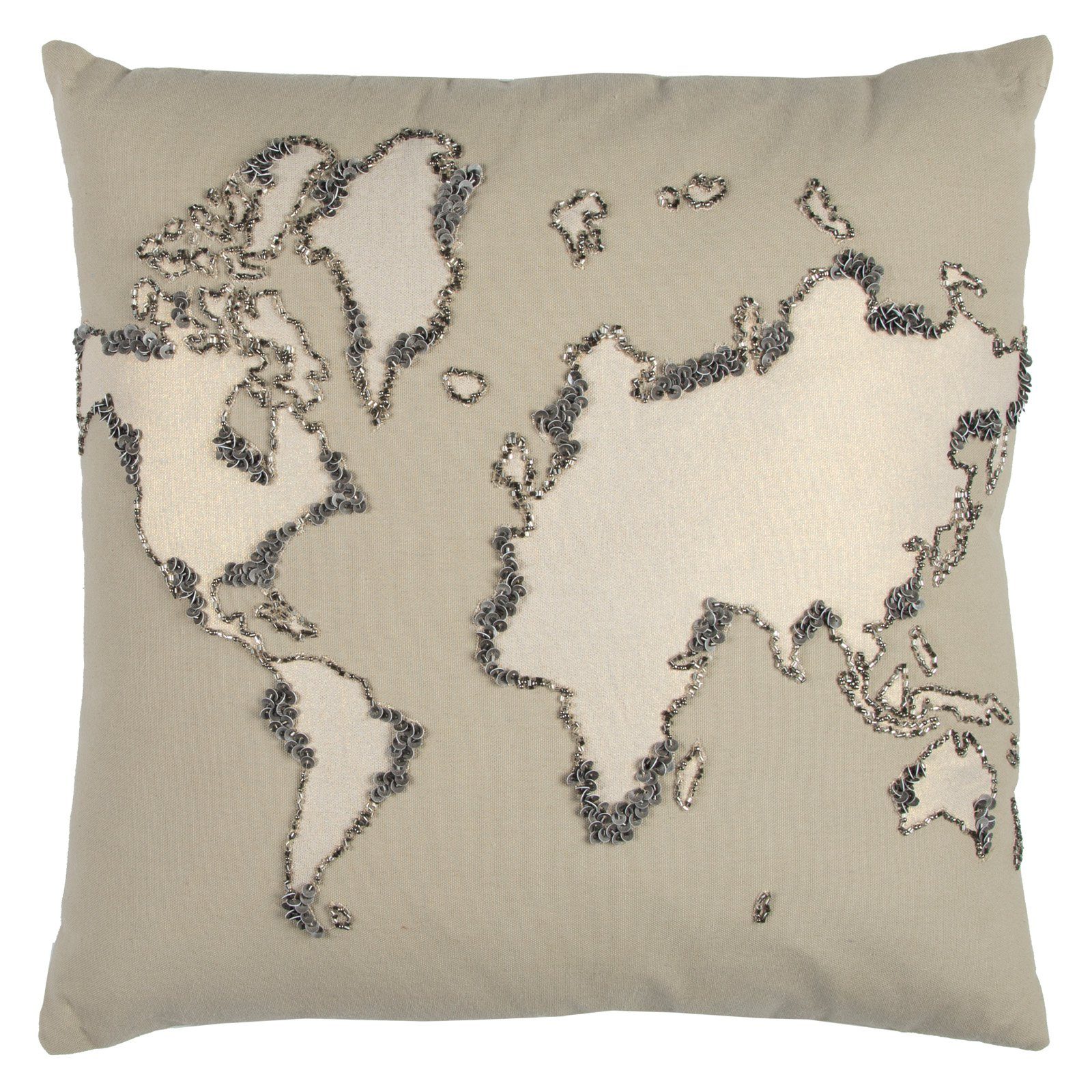 "Rizzy Home Decorative Poly Filled Throw Pillow World Map 20""X20"" Khaki"
