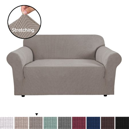H.VERSAILTEX 1-Piece Jacquard Spandex Loveseat Stretch Slipcover, Taupe