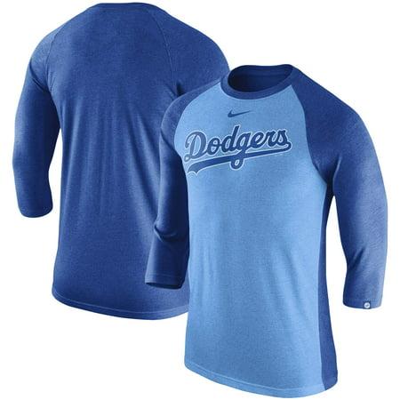 Los Angeles Dodgers Nike Tri-Blend 3/4-Sleeve Raglan T-Shirt - Light Blue (Nike Rückgaberecht)