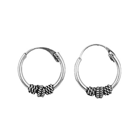 Tribal Artisan Jewelry 12x2 Bali Hoop Earrings Sterling Silver