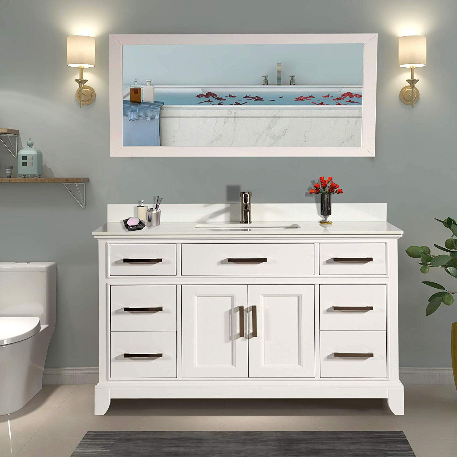 "vanity art 60"" single sink bathroom vanity combo set 7"