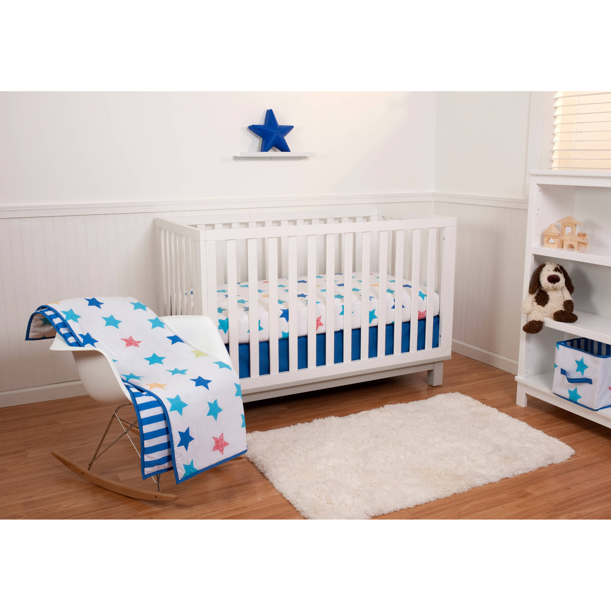 Little Bedding by Nojo Reversible Stars/Blue Stripe 6-Piece Crib Bedding Set