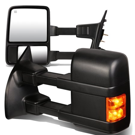 Oem Heated Glass (For 1999 to 2007 Ford F250 / 350 / 450 / 550 Pair of Black Powered + Heated Glass + Signal + Manual Extenable Side Towing Mirrors)