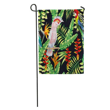 LADDKE Tropic Bird Macaw and Multicolor Parrot Exotic Lobster Claws Flower Strelitzia Palm Leaf Summer Floral Garden Flag Decorative Flag House Banner 12x18 - Lobster Claw Flower