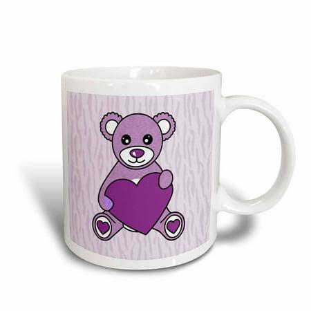 (3dRose Valentines Day Cute Purple Teddy Bear Holding Heart, Ceramic Mug, 11-ounce)