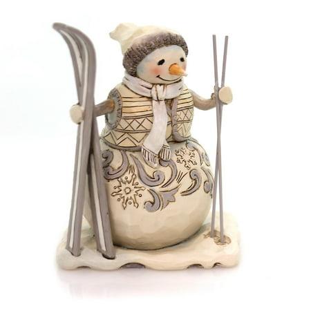 Jim Shore Snow White (Jim Shore DOWNHILL DREAMER Polyresin White Woodland Snowman 4058738)