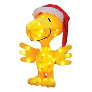 "Peanuts Christmas 18"" Prelit Tinsel Santa Claus Woodstock Outdoor Decoration - Clear Lights"
