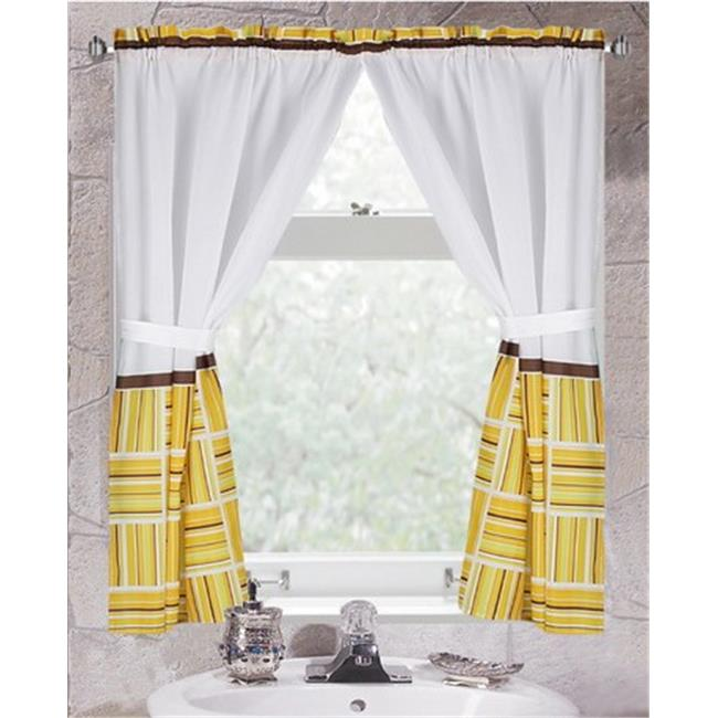"""Caroline"" 100% polyester fabric window curtain with two tie backs, size 54""x34"""