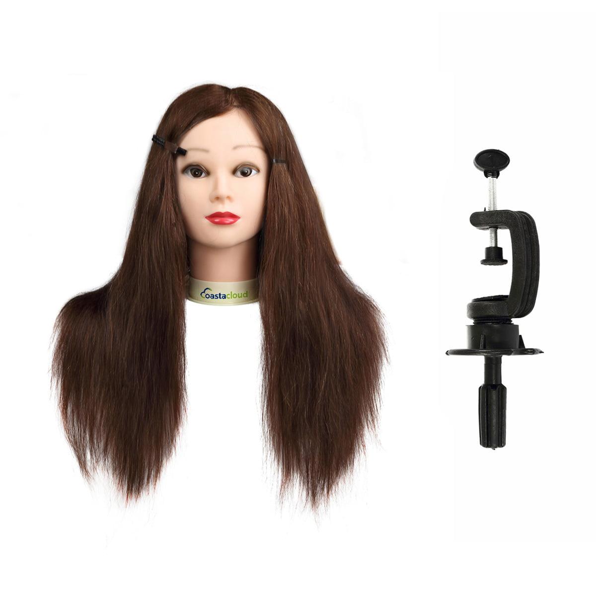 Human Hair 24inch 100% Mannequin Doll Manikin Head + Free Clamp Holder Salon Cosmetology Beauty Head Training Hairdressing Makeup Hairdresser Hair styling Practice CoastaCloud