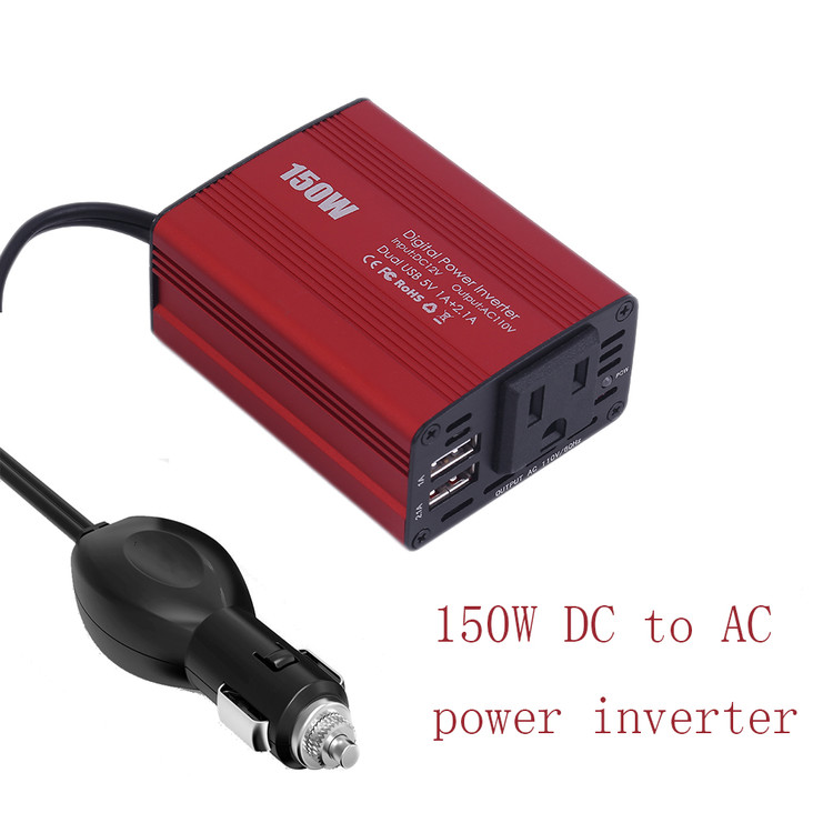 150W Car Power Inverter Dc 12V To 110V Ac Converter With 3.1A Dual Usb Charger Red