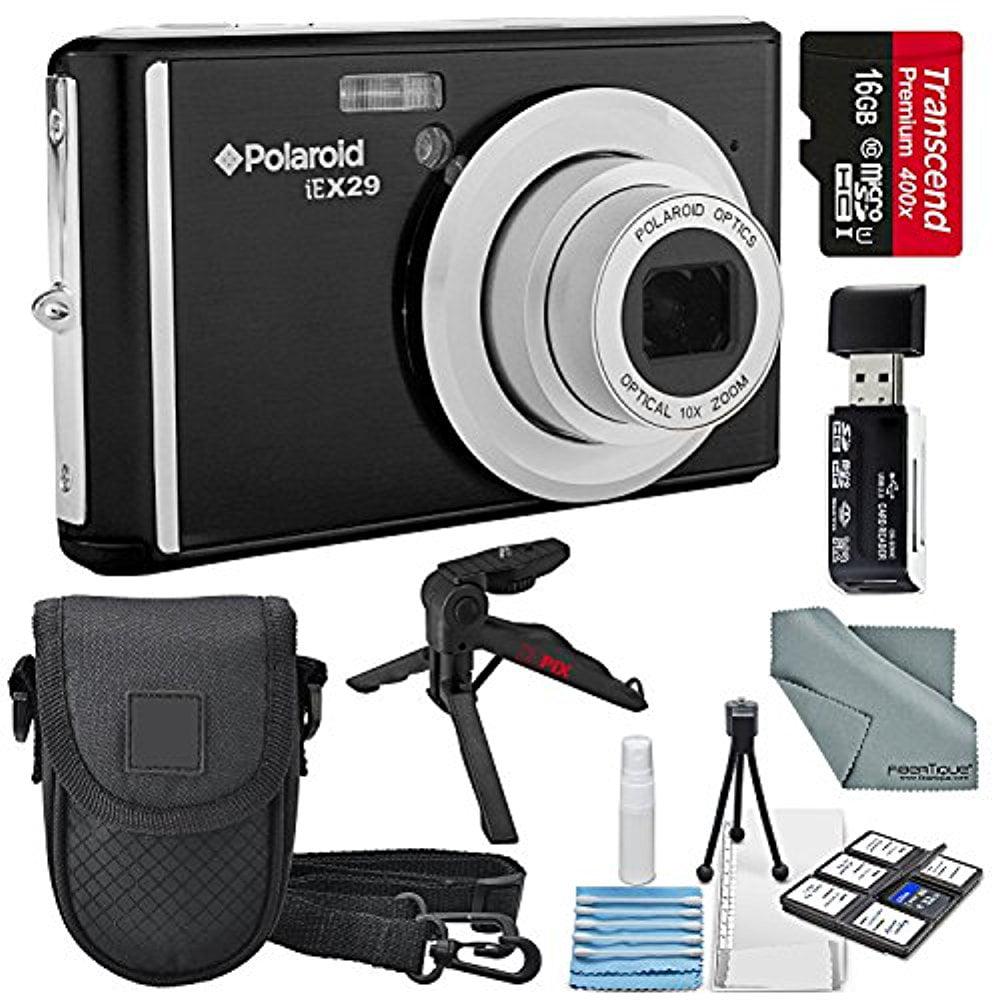 Polaroid iEX29 18MP 10x Digital Camera (Black) and Accessory Bundle W/ 16GB + Card Reader + Case + Xpix Tripod + Fiberitque Cleaning Cloth + Deluxe Starters Kit