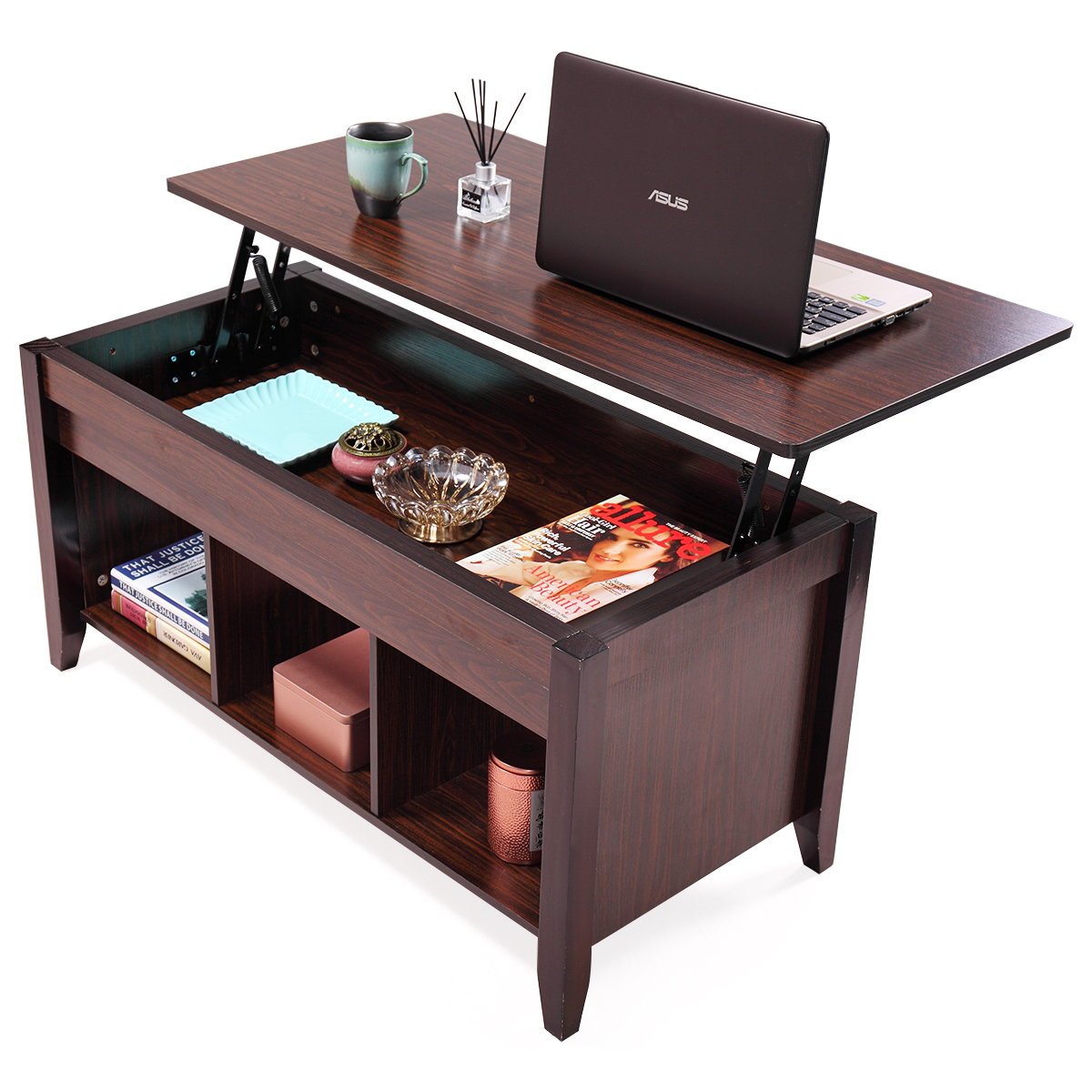 Lazymoon Lift Top Coffee Table Laptop Desk Storage Compartment Solid Wood  Home Furniture, Walnut Brown