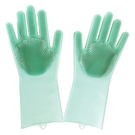 Magic Silicone Gloves with Wash Scrubber Reusable Brush Heat Resistant Kitchen Tool Gloves for Cleaning, Dish Washing, Washing The Car, Pet Hair Care 1 Pair (Gecko Silicone Gloves)