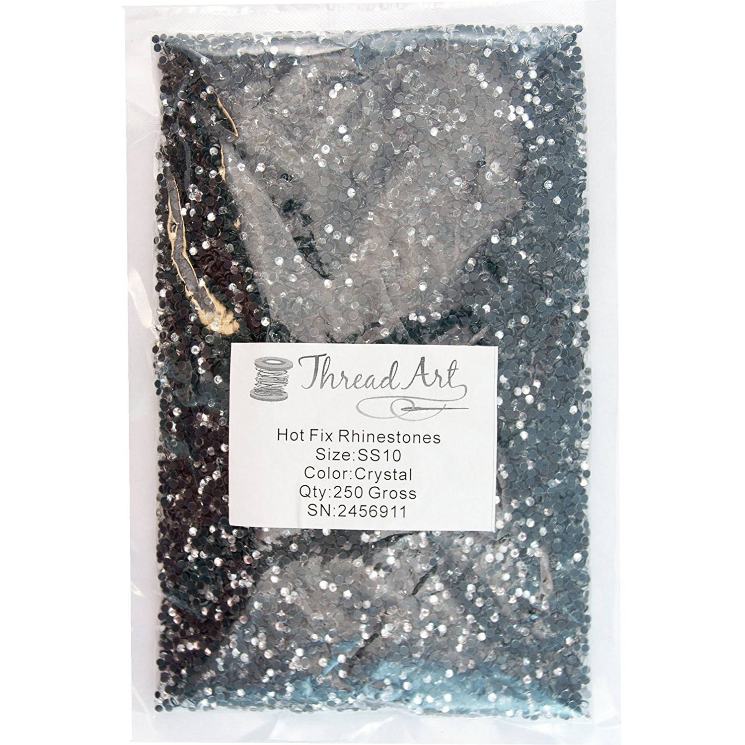Threadart Bulk Hot Fix Rhinestones, 100 gross (SS16), 250 gross (SS10), 500 gross (SS6) Packages, 11 Colors Available