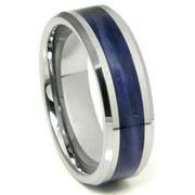 Titanium Kay Tungsten Carbide Blue Riverstone Inlay Comfort Fit Mens Wedding Band Ring Sz 10.0