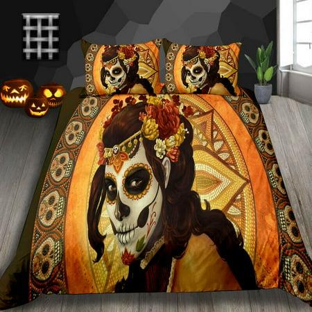 "Comforter Cover Set Skull Women Print Happy Halloween Adults Teens Kids 2/3pcs Bedding Sets,Twin (68""x86"")"