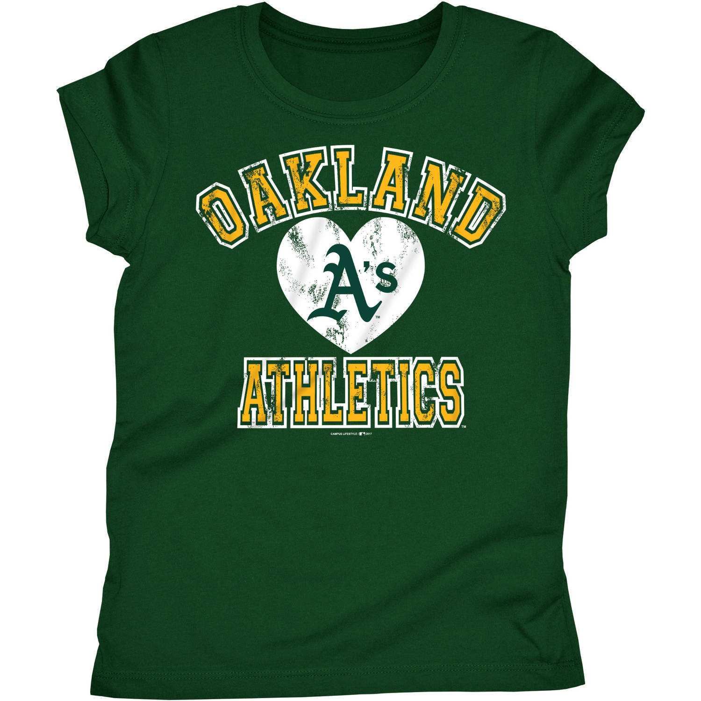 MLB Oakland Athletics Girls Short Sleeve Team Color Graphic Tee