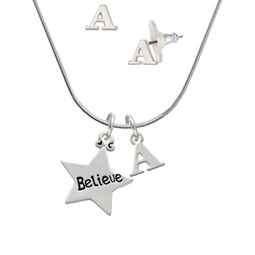 Believe Star - A Initial Charm Necklace and Stud Earrings Jewelry Set