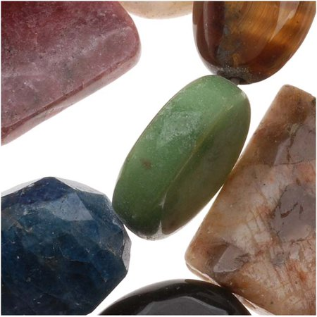 Gemstone Beads Mix Assorted Variety Pack Multi-Shape /15.5 Inch Strand - Gem Shapes