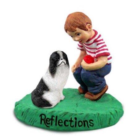 Japanese Chin Black & White Reflections w/Boy Figurine