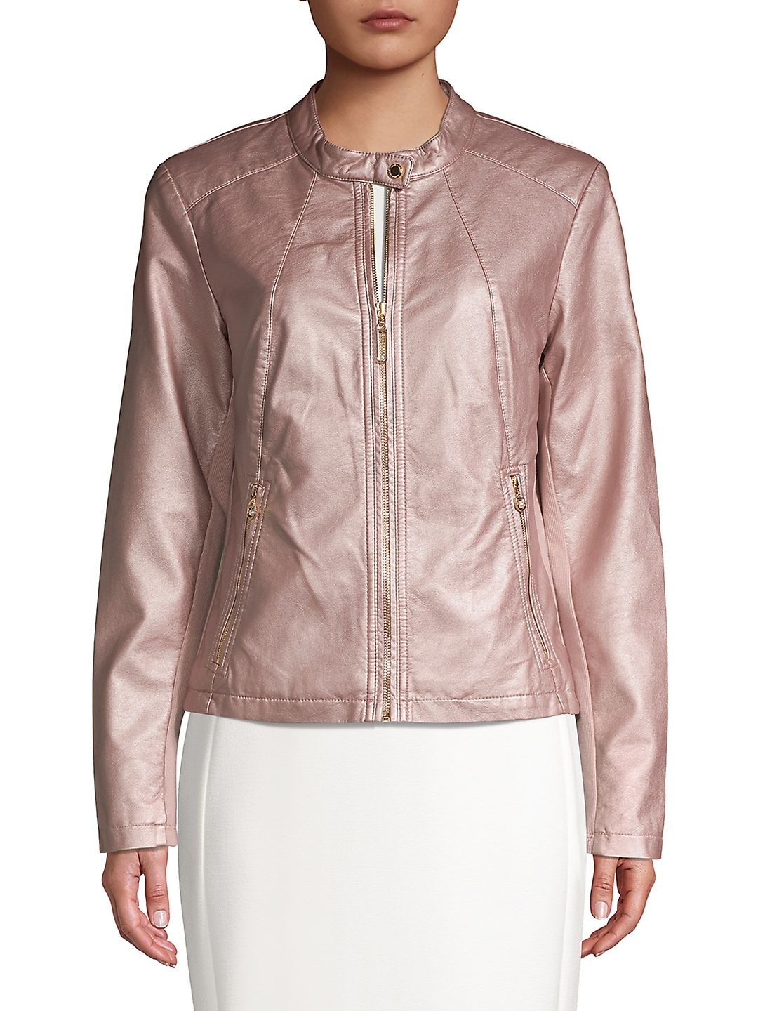 Faux-Leather Zip-Up Jacket