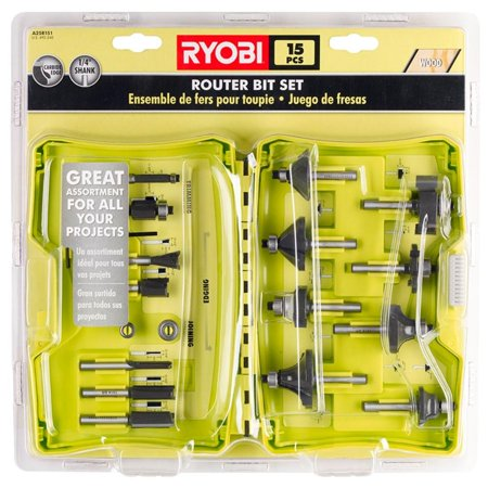 Ryobi A25R151 15 Piece 0.25 Inch Shank Router Bit Set (Certified Refurbished)