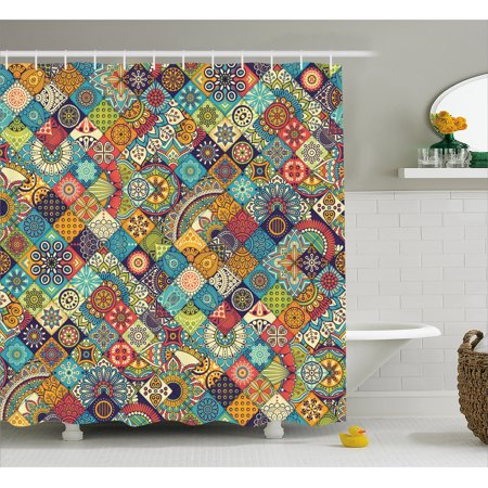 Bohemian Shower Curtain Checkered Pattern With Ethnic Ornamental Floral Figures Indian Folk Art Abstract
