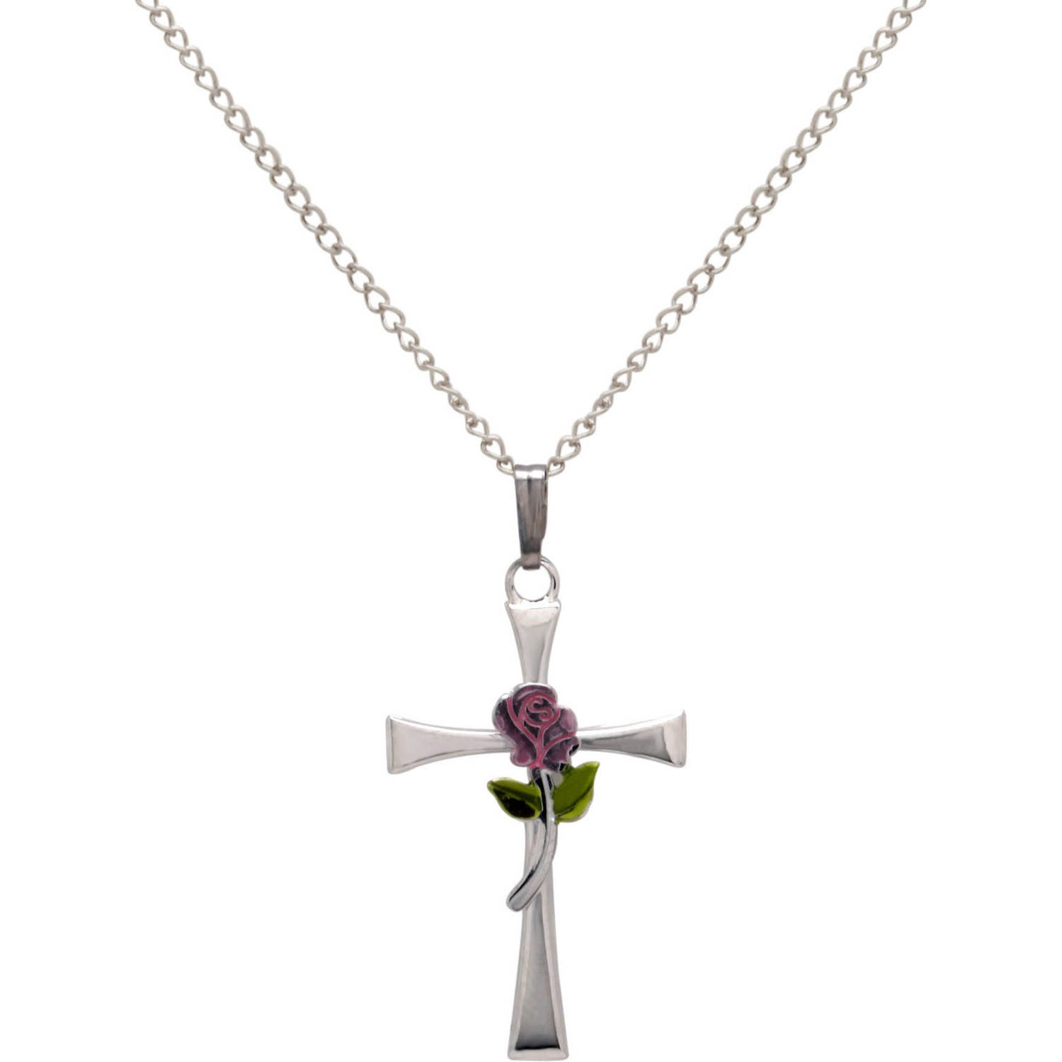 """Cross with Painted Rose Sterling Silver Pendant, 18"""""""