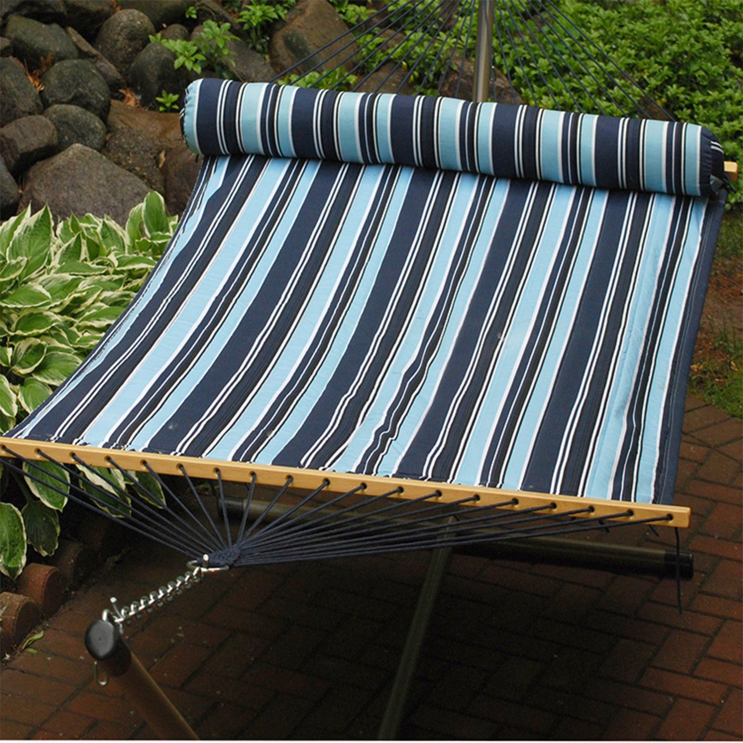 """82"""" x 55"""" Navy & Sky Blue Striped Reversible Quilted Double Hammock with Pillow"""