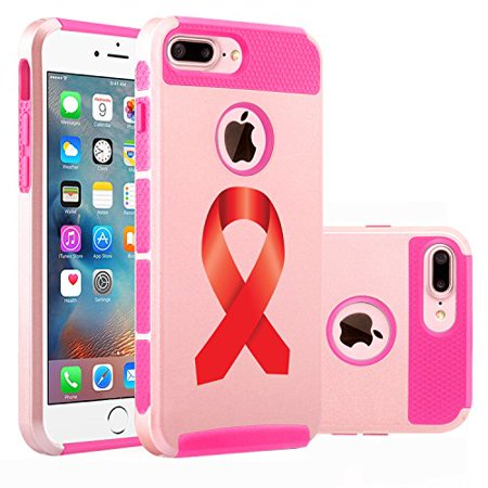For Apple iPhone (7 Plus) Shockproof Impact Hard Soft Case Cover Heart Disease AIDS Color Awareness Ribbon (Rose Gold-Hot Pink) - Aids Awareness Ribbon