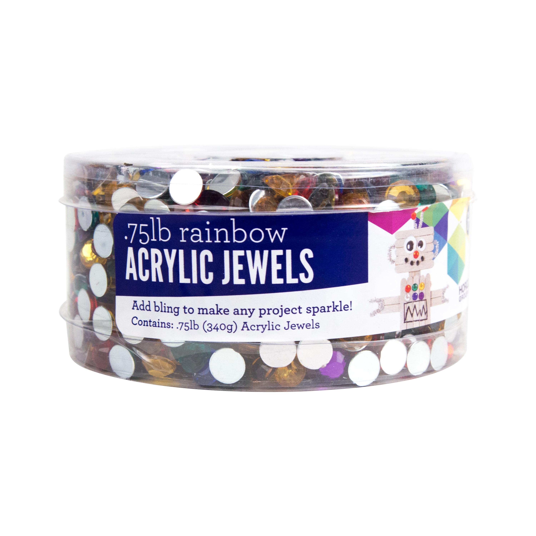 Rainbow Acrylic Jewels Tub, 0.75lbs by Horizon Group USA