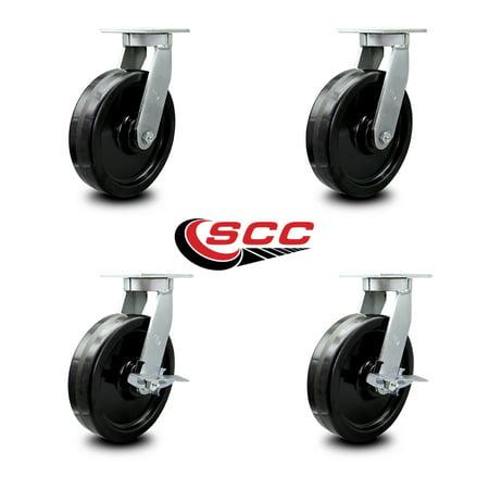 Extra Heavy Duty Kingpinless 10 x 3 Phenolic Caster Set 2 Swivel with