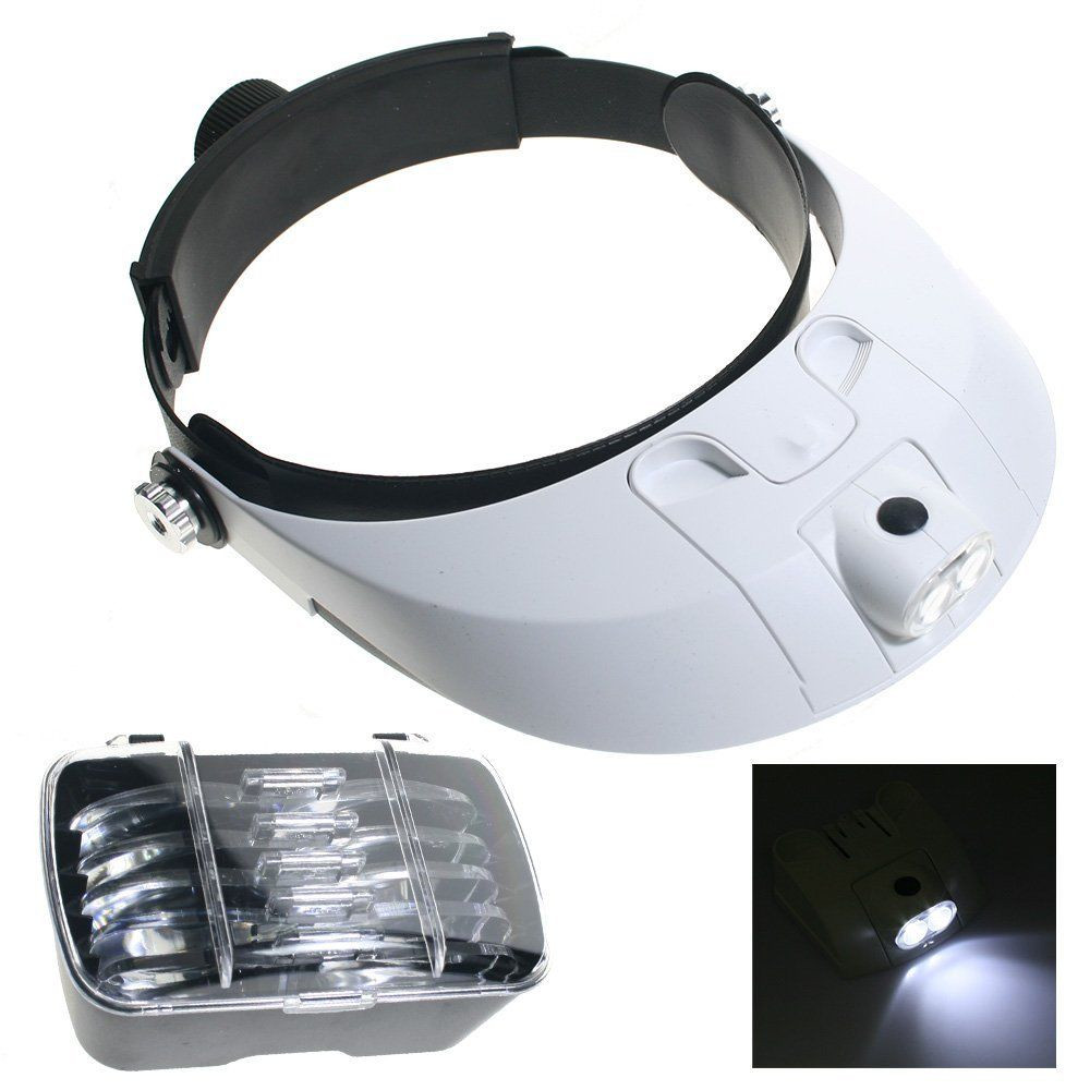 Magnifying Glass With Light Head Magnifier for Reading Loop Jewelers Visor Repair Magnifier Tool