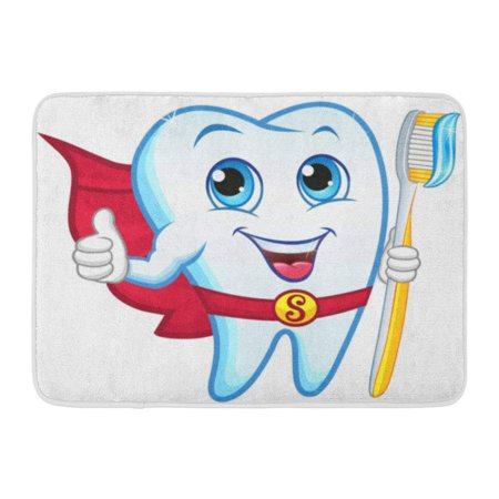 GODPOK Happy White Smile Tooth Holding Toothbrush Smiling Dental Cartoon Rug Doormat Bath Mat 23.6x15.7 (Welcome Tooth)